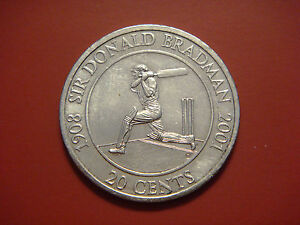 AUSTRALIA 20 CENTS 2001 SIR DONALD BRADMAN CRICKET PLAYER