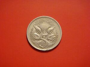 AUSTRALIA 5 CENTS 1968 COIN. ANTEATER ANIMAL COINS