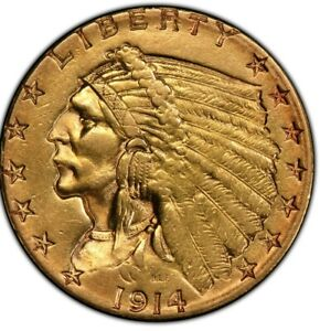 1914 D $2.5 US GOLD INDIAN INDIAN QUARTER EAGLE   RAW ATTRACTIVE AND APPEALING.