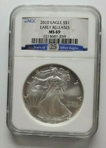 2010 US SILVER EAGLE NGC MS69 EARLY RELEASES
