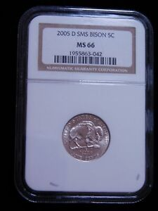 2005 D SMS BISON 5C JEFFERSON NICKEL   NGC MS66