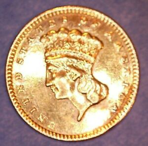 US GOLD 1 DOLLAR COIN 1857 OR 1867 OR 1877 OR 1887 HIGH GRADE BUT REV MOUNT