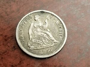 1860 O SEATED LIBERTY SILVER HALF DIME FULL LIBERTY     INV09     D901