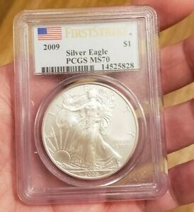 2009 $1 AMERICAN SILVER EAGLE PCGS MS70 FLAG FIRST STRIKE LABEL