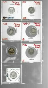 1917 1941 MERCURY DIME LOT OF 7 DIFFERENT G AU EARLY R DATES