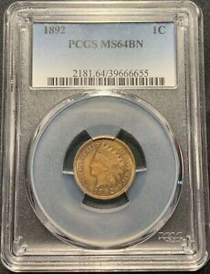 1892 1C INDIAN HEAD CENT PCGS MS 64 BN   GREAT LOOK