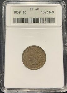 1859 1C INDIAN HEAD CENT ANACS EF 40  XF 40