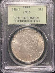 1900 O $1 MORGAN SILVER DOLLAR PCGS MS 64   OLD GREEN HOLDER