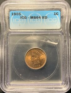 1905 1C INDIAN HEAD CENT ICG MS 64 RD   NICE RED INDIAN CENT