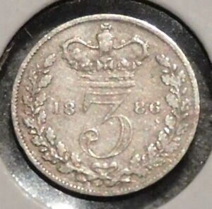 BRITISH SILVER THREEPENCE   1886   QUEEN VICTORIA   $1 UNLIMITED SHIPPING