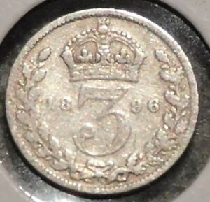 BRITISH SILVER THREEPENCE   1896   QUEEN VICTORIA   $1 UNLIMITED SHIPPING