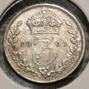 BRITISH SILVER THREEPENCE   1901   QUEEN VICTORIA   $1 UNLIMITED SHIPPING