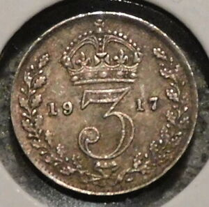 BRITISH SILVER THREEPENCE   1917   KING GEORGE V   $1 UNLIMITED SHIPPING
