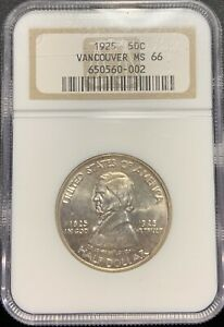 1925 50C VANCOUVER SILVER COMMEMORATIVE HALF NGC MS 66   NICE COIN