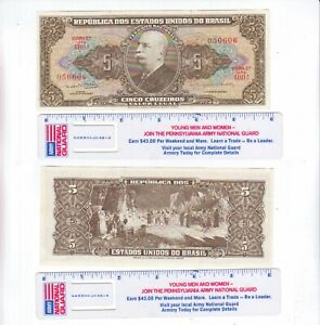 BRAZIL 5 FIVE CRUZEIROS PAPER MONEY WWII BRAZIL CURRENCY BANKNOTE