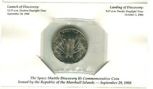 1988 REPUBLIC OF MARSHALL ISLANDS $5 COMMEMORATIVE COIN  SPACE SHUTTLE DISCOVERY