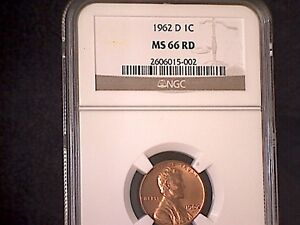 1962 D LINCOLN MEMORIAL CENT      NGC  MS66