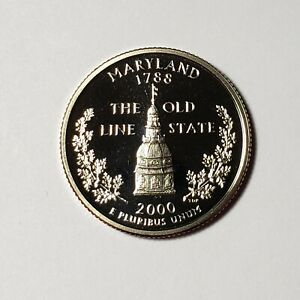 2000 S MARYLAND STATE QUARTER PROOF FROM U.S. MINT SET BU CAMEO KM 306  A