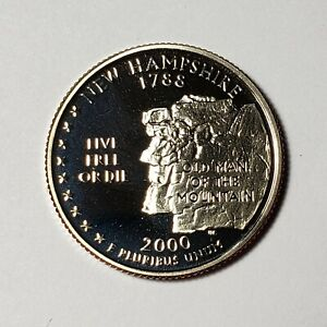 2000 S NEW HAMPSHIRE STATE QUARTER PROOF FROM US MINT SET BU CAMEO KM 308  DSA