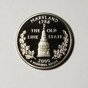 2000 S MARYLAND STATE QUARTER PROOF FROM U.S. MINT SET BU CAMEO KM 306  SSA