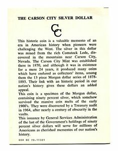 GENERAL GSA CARD FOR CARSON CITY GSA DOLLAR ORIGINAL NICE COA 99C SHIPMENT
