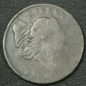1794 ROTATED DIES LIBERTY CAP FLOWING HAIR COPPER HALF CENT