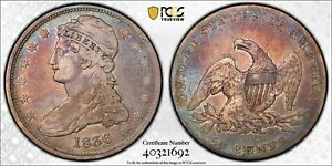 1836 REEDED EDGE  CAPPED BUST SILVER 50C  CHOICE VF   PCGS VF20   ORIGINAL