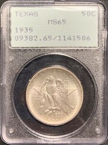 1935 TEXAS 50C SILVER COMMEMORATIVE HALF PCGS MS 65 RATTLER