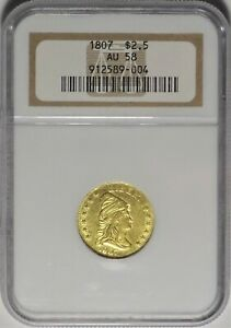 1807 $2.50 NGC AU 58 EARLY GOLD DRAPED BUST QUARTER EAGLE TYPE COIN