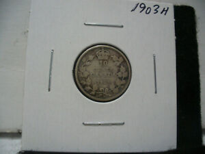 Click now to see the BUY IT NOW Price! 1903 H  CANADA SILVER DIME   CANADIAN   10  CENT COIN  03H  GOOD  GRADE