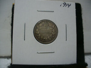 1914  CANADA SILVER DIME   CANADIAN   10  CENT COIN  14  GOOD  GRADE