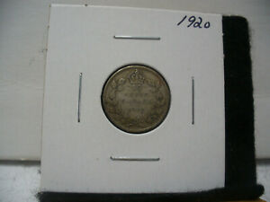 1920  CANADA SILVER DIME   CANADIAN   10  CENT COIN  20  GOOD  GRADE