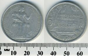 FRENCH OCEANIA 1952   5 FRANCS ALUMINUM COIN   SEATED LIBERTY