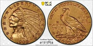 1908 GOLD $2.5 QUARTER INDIAN AU 50 US GOLD COIN   GORGEOUS RED TONER.