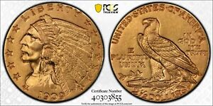 1909 $2.5 GOLD QUARTER INDIAN AU 53 US COIN   ATTRACTIVE EXAMPLE AND GREAT YEAR