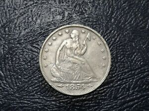 1854 SEATED LIBERTY SILVER HALF DOLLAR WITH ARROWS