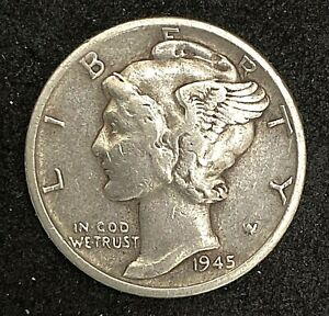 1945 S MERCURY DIME 10 90  SILVER REPUNCHED MINT MINT ERROR COIN  1292