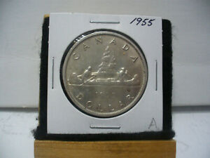 Click now to see the BUY IT NOW Price! 1955  CANADA  SILVER DOLLAR  COIN   NICE GRADE  SEE PHOTOS   55A   NICE GRADE