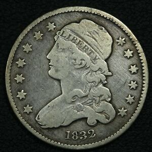 1832 CAPPED BUST SILVER QUARTER   CLEANED