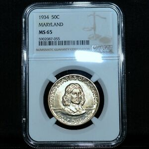 1934 MARYLAND TERCENTENARY COMMEMORATIVE  NGC MS 65  50C SILVER UNC TRUSTED