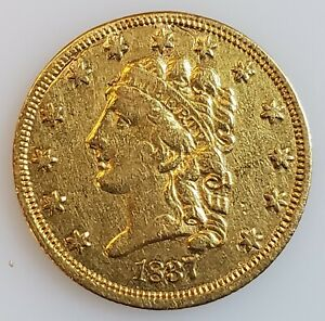 1837 CLASSIC HEAD $2.50 QUARTER EAGLE GOLD COIN W/ XF DETAILS