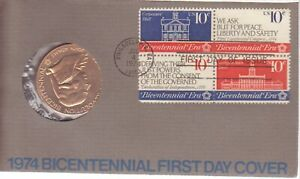 1974 BICENTENNIAL FIRST DAY COVER COMMEMORATIVE MEDAL & STAMPS LOT 2