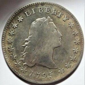 1795 FLOWING HAIR SILVER DOLLAR GOOD VG  2 LEAVES B 13 BB 24 $1 TYPE COIN