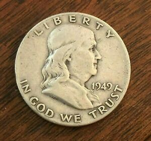 1949 BEN FRANKLIN HALF DOLLAR   US CENTS 90  SILVER COIN