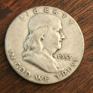 1953 S BEN FRANKLIN HALF DOLLAR   US 50C 90  SILVER COIN
