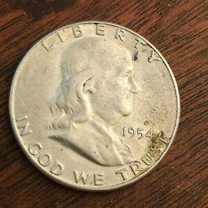 1954 S BEN FRANKLIN HALF DOLLAR   US 50C 90  SILVER COIN