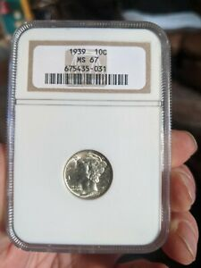 2 GRADED MERCURY DIMES 1939 NGC MS67 AND A 1930 S PCGS MS64