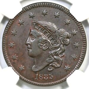 1835 N 2 R 3 NGC AU DETAILS MATRON OR CORONET HEAD LARGE CENT COIN 1C