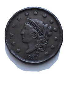 1837 CORONET HEAD LARGE CENT FULL DETAIL