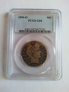 US 1894 O SILVER COIN OF BARBER 50C PCGS G 04